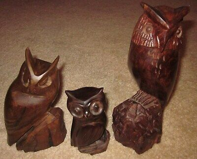 """Lot of 3 Ironwood Owl Carvings 10"""", 7"""", & 5.25""""Tall Hand Carved Wooden Figures"""