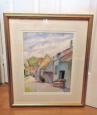 Canadian Watercolor Painting  Streets Cape / Signed Lila Patton