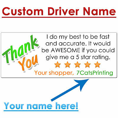 30 for Instacart Delivery Thank You Stickers for Drivers Rating CUSTOM NAME