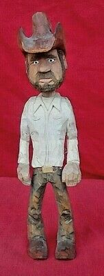 High Quality Hand Carved Wood Caricature Of An Old Punchy Cowboy Artist Signed