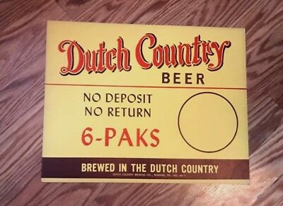 Vintage Dutch Country Beer Reading Brewing Co Cardboard Sign Reading Pa