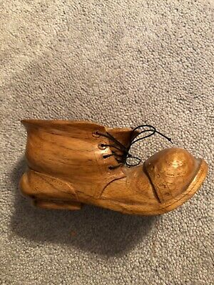 Vintage  Hand Carved wooden shoe Work Boot Cloth Laces Signed Folk Art 1980