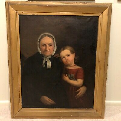 19th Century American Antique Portrait Oil Painting Mother with Child Girl a