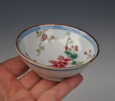 Rare Mark ANTIQUE CHINESE PORCELAIN CUP Qing Dynasty Famille Rose Peony Bowl