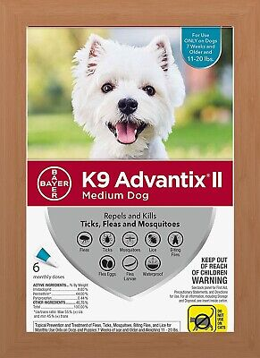 K9 Advantix II Flea & Tick Treatment for Medium Dogs 11-20 lbs - 6 Pack