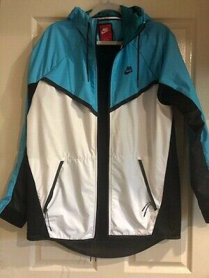 NIKE Mens Running Jacket In Black, Teal and White in Size Large
