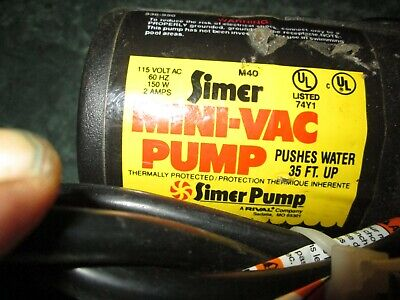 SIMER Portable Utility Pump M40 Mini-Vac 1/12 HP 350 Gallons/Hr EXCELLENT