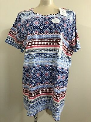 Nwt Croft & Barrow Womens 2X Red White Blue Short Sleeve Crewneck Classic Tee