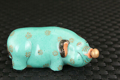 chinese old porcelain hand painting pig statue snuff bottle