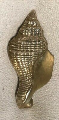 "VTG  SOLID HEAVY BRASS DOOR KNOCKER  8.5"" Scallop Seashell Sea Shell & Hanger"