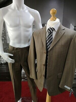 "Men's 2 Piece Brown Pinstripe Suit Bernhardt Chest 38"" Waist 30"" RRP £120"