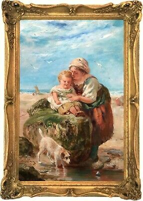 The Toy Boat Antique Genre Oil Painting by Frederick Underhill (c.1832–1896)