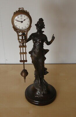 Stunning Antique Swinging Lady Figure Clock ~ French ? ~ In Working Order