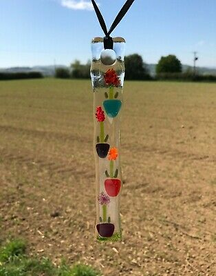 Handmade Fused Glass Chakra/Rainbow Coloured Sun Catcher
