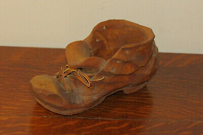 Vintage Hand Carved Wood/Wooden Shoe Cloth Laces Signed The Whittlers