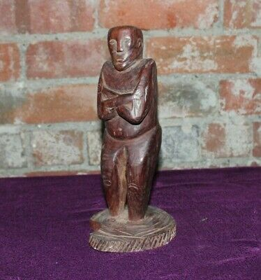 Hand Carved Antique Timur Statue, Wooden Figure of a Man with Crossed Arms