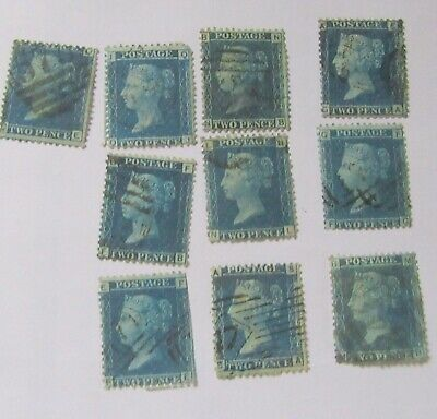 10 x TWO PENCE BLUE VICTORIAN STAMPS