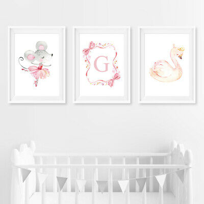 Pink Personalised Swan Princess Baby Nursery Wall Art Prints Decor Pictures Girl
