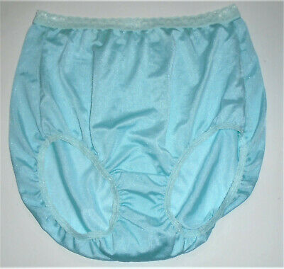 Vintage Nylon Silky Light Blue Granny Sissy Panties Briefs Just My Size 10? Lace