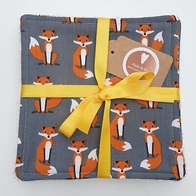 Reusable Wipes Grey Foxes 6 inch Cotton Towelling Cloth Washable Baby Makeup