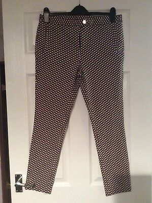 Dorothy Perkins Brown/White Aztec Trousers Size 14 Vgc