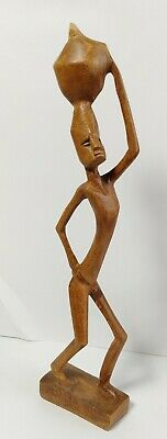 """Vintage Hand Carved Wooden Figurine Statue 12"""" tall"""
