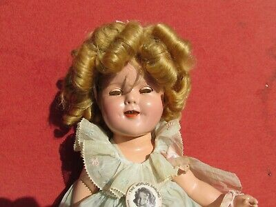 "Ideal 1934 15"" Shirley Temple Composition Doll Original Clothing button GREAT"