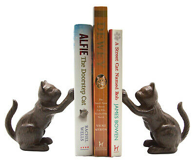 Cast Iron Sitting Cat Brown Rustic Book Ends Book Ends Shelf Sitter Vintage