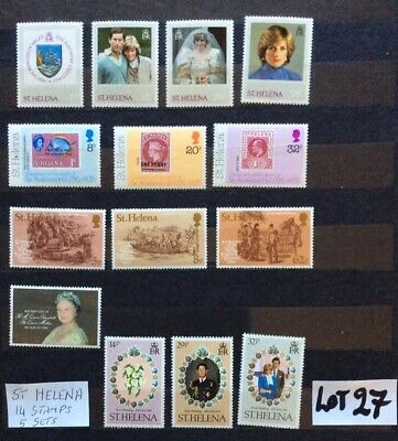 British Commonwealth Unmounted Mint From St Helena 14 Stamps 5 Sets (Lot 27)