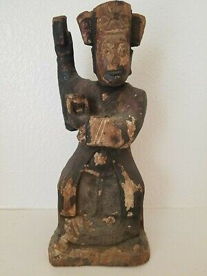 Asian Wood Carved Religious figure (Santos Figure) with Prayer Note