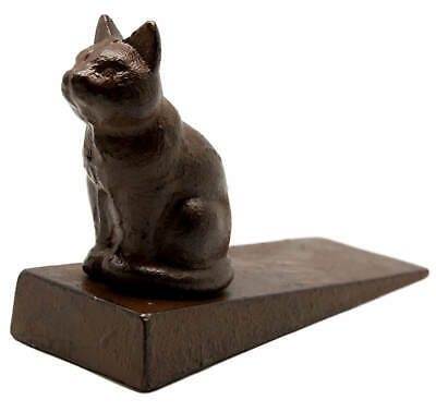 Cast Iron Cat Door Stop Wedge Vintage Rustic Brown Doorstop Heavy Weight Stay