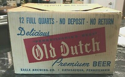 Vintage Old Dutch Beer Cardboard 12 Quart Bottle Case Eagle Brg Co Catasauqua Pa