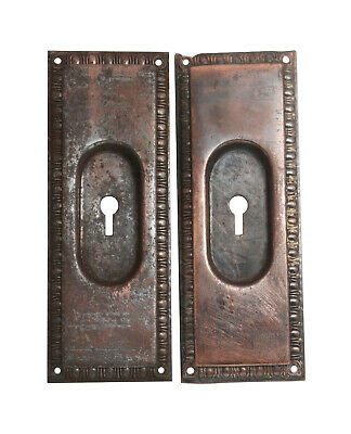 Traditional Egg & Dart Steel Keyhole Pocket Door Plates