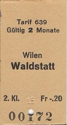 Railway ticket Switzerland Wilen to Waldstatt second class single 1973
