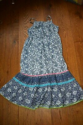 Monsoon girls blue/white maxi dress age 11 fab condition