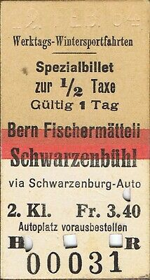 Railway ticket Switzerland Bern-Fischermatteli second class single 1964