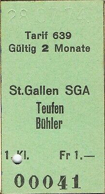 Railway ticket Switzerland St. Gallen to Teufen Buhler first class single 1974