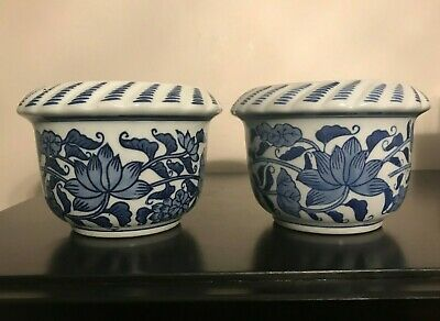 Two Nice Blue and White Floral Designed Porcelain Small Planters