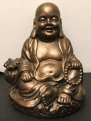 Vintage Resin Chinese Oriental Sitting/ Happy/ Laughing Buddha Figure 8.5cm High