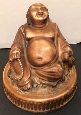 Vintage Resin Chinese Oriental Sitting/ Happy/ Laughing Buddha Figure 7cm High