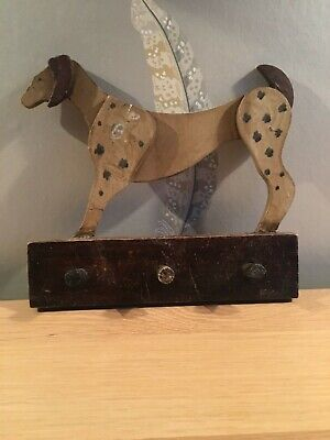 Rare antique wooden folk art dog plaque with hooks
