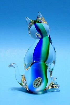 Vintage Cat Figurine Paperweight Crystal Clear Green & Blue Murano Art Glass