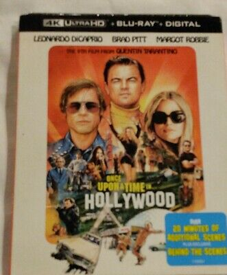 NEW ONCE UPON A TIME IN HOLLYWOOD 4K (ULTRA HD + Blu- Ray + Digital) +Slipcover