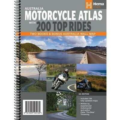 Australia Motorcycle Hema Atlas Spiral Bound with 200 Top Rides