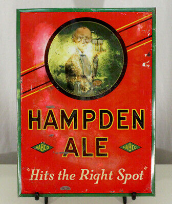 Hampden Mild Ale Handsome Waiter Toc Beer Sign Willimansett Massachusetts Tin Ma