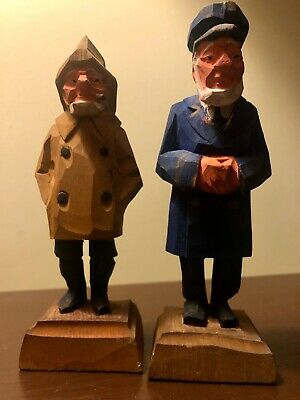 Vintage Tom Hannah Canada Signed Hand Carved Wood Folk Art Figures
