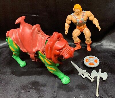 Vintage 1981 MOTU figure lot: HE MAN and BATTLE CAT Masters Of The Universe