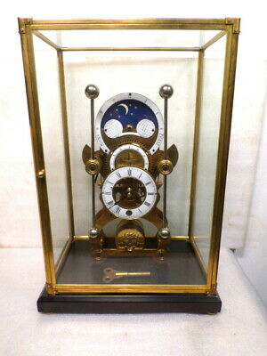 Antique Style Brass Moon Dial Grasshopper Clock With Brass/Glass Dome