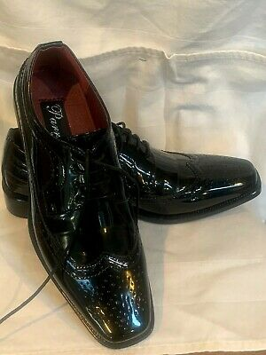 Men/'s Dress Tuxedo Shoes Wing Tip Oxford Patent Leather Solid White 6777