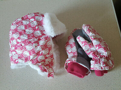 Girls Hello Kitty trapper Hat & Mittens